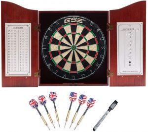 Deluxe Solid Wood Dartboard Cabinet Set
