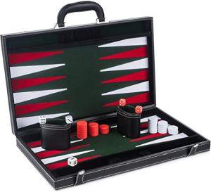 """17"""" Large Leather & Wooden Backgammon Set"""