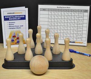 Table Shuffleboard Bowling Brown Pins