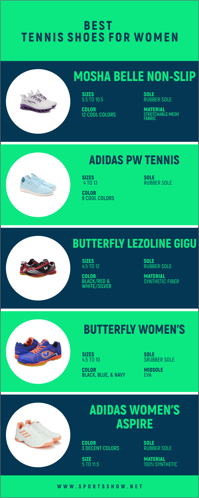 Best Table Tennis Shoes For Women - Infographics