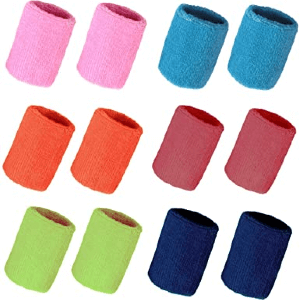Hapy Shop 12 Pack Colorful Cotton Sport Wristbands