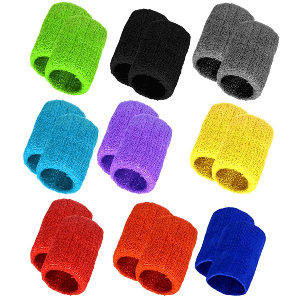 Obmwang 18 Pieces Wrist Sweatbands